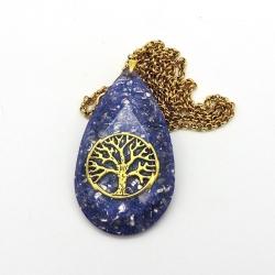 Orgonite colar gota facetado com Árvore da vida