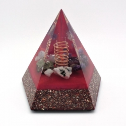 Orgonite Pirite, Ametista, Água Marinha, Pedra da lua, Lepidolite, Pirâmide Pentagonal L