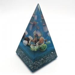 Orgonite Amazonite, Fluorite, Pirite, Quartzo rosa e Olho de Tigre, Pirâmide Núbia L