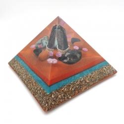 Orgonite Quartzo Morion, Turquesa, Rubi, Shungite e Jaspe vermelho, Pirâmide Keops XL