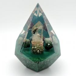 Orgonite Turquesa, Pirite, Malaquite, Amazonite, Pirâmide Flor de Lótus