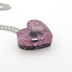 Orgonite Turmalina negra, Ametista e Quartzo rosa, Colar Coração Pequeno