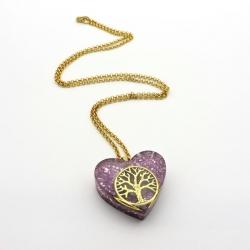 Orgonite Quartzo rosa, Colar Coração Pequeno árvore da vida