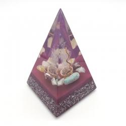 Orgonite Amazonite, Berilo Azul, Lepidolite, Calcite Amarela e Quartzo rosa, Pirâmide Núbia L
