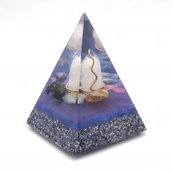 Orgonite Onix Mel, Rubi, Berilo azul, Cianite azul, Cianite Negra, Ametista e Azeviche, Pirâmide Pentagonal L
