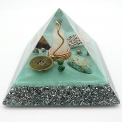 Orgonite Esmeralda, Amazonite, Pirite, Pedra da Lua e Olho de Tigre, Pirâmide Kéops M