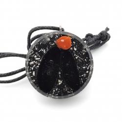 Orgonite Obsidiana negra e  Jaspe Vermelho, colar mini disco