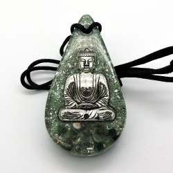 Orgonite Àgata Verde colar gota e Simbolo Buda