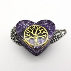Orgonite Ametista Colar Coração Pequeno árvore da vida roxo
