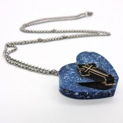 Orgonite Obsidiana negra Colar Coração Pequeno Cruz