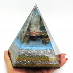 Orgonite Turmalina negra, Pirite e Olho de Tigre, Pirâmide Pentagonal XL