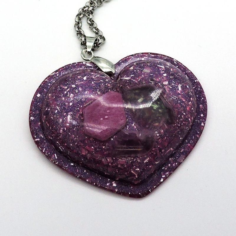 Orgonite Rubi e Fluorite, Colar Coração