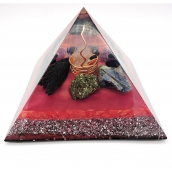 Orgonite Cianite azul, Cianite preta, Pirite, Obsidiana preta, Ametista, Shungite e turmalina negra , Piramide Keops XL